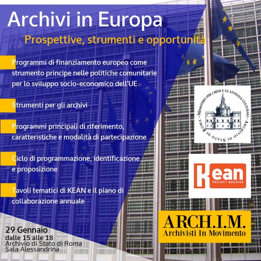 Archivi in Europa. Prospettive, strumenti e opportunità | 29 gennaioRoma
