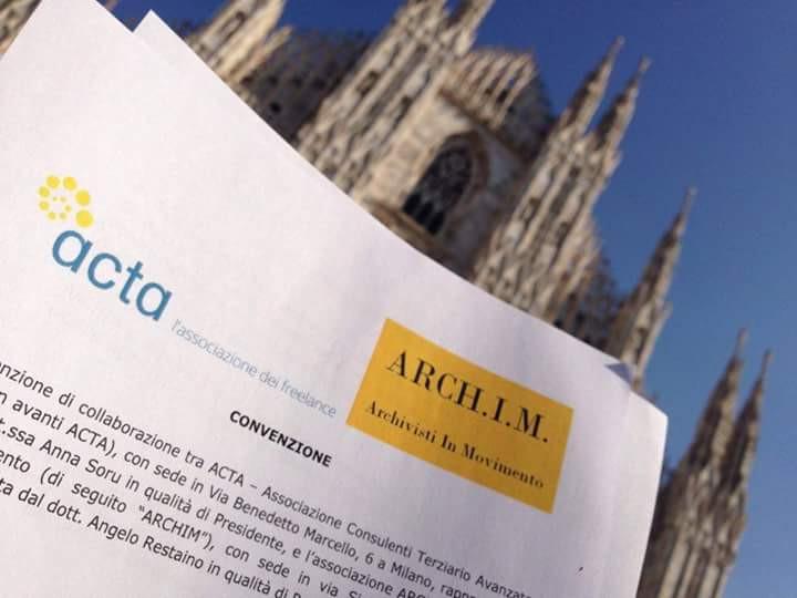 Attivata la convenzione tra Archim e ACTA, l'Associazione deifreelance
